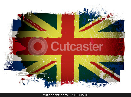 Old british flag stock vector clipart, Grunge effect british union jack flag by Michael Travers