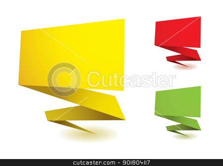 Origami elements stock vector clipart, Colorful origami elements with copy space and drop shadow by Michael Travers