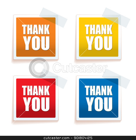 Thank you tag colour stock vector clipart, Collection of four brightly coloured thank you tags with sticky tape by Michael Travers