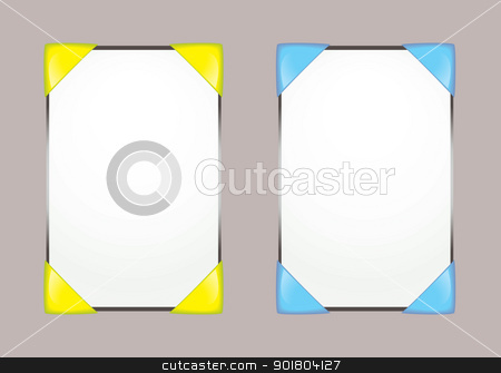 Web blog template stock vector clipart, concept for web blog template with yellow or blue corners by Michael Travers