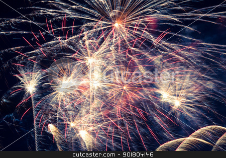 fireworks stock photo, Golden fireworks in colorful shades of yellow and orange by Anatoliy Nykilchyk