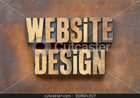 website design stock photo, website design - internet service concept - - text in vintage letterpress wood type against a grunge and rusty metal sheet by Marek Uliasz