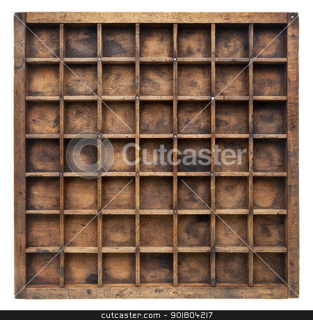 vintage wood typesetter case stock photo, vintage wood  printer  (typesetter) drawer with numerous dividers, isolated on white by Marek Uliasz