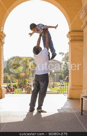 African American Father Lifting Mixed Race Son in the Park stock photo, Happy African American Father Lifts Mixed Race Son Over His Head in the Park. by Andy Dean