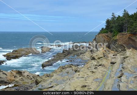Pacific coastline stock photo, Rocky pacific coastline in Oregon by perlphoto