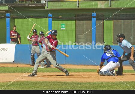 Baseball game stock photo, NOVARA, ITALY - JULY 7: Baseball game Novara (blue)-Bologna (purple) 1-17, Italian Serie A. Bologna designated hitter Mark Castellitto checks his swing. July 7, 2012 by Fabio Alcini