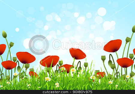 Flower Background stock vector clipart, Flower Background with Grass and Sky by Vadym Nechyporenko