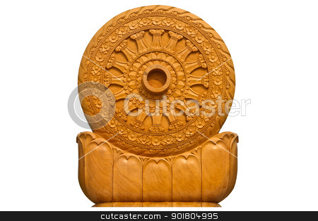 Wheel of the law or dhammacakka stock photo, Wheel of the law or dhammacakka by jukree