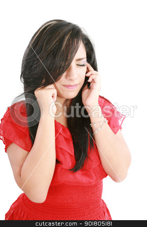 A woman with a headache holding head, isolated on white backgrou stock photo, A woman with a headache holding head, isolated on white background   by dacasdo