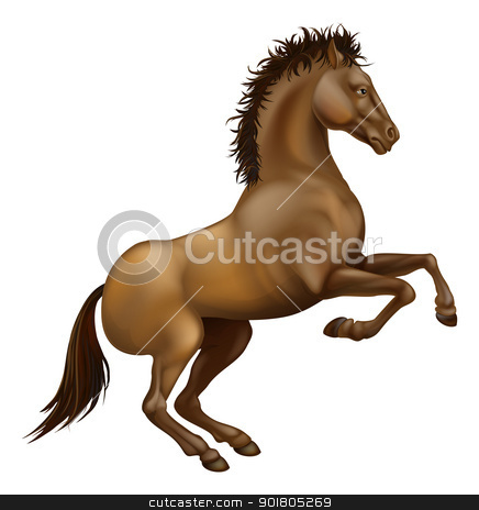 Rearing brown horse stock vector clipart, Illustration of a powerful brown horse rearing on its hind legs by Christos Georghiou