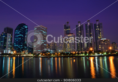 Bangkok city  stock photo, Bangkok city in night shot with reflection  by boonsom
