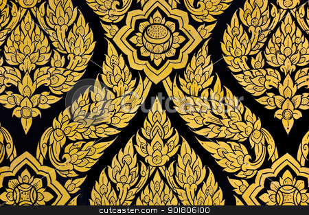 Thai Floral pattern painting  stock photo, Thai Floral pattern painting on door of Buddhist temple by boonsom