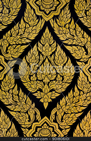 Thai Floral painting  stock photo, Thai Floral pattern painting on door of Buddhist temple by boonsom