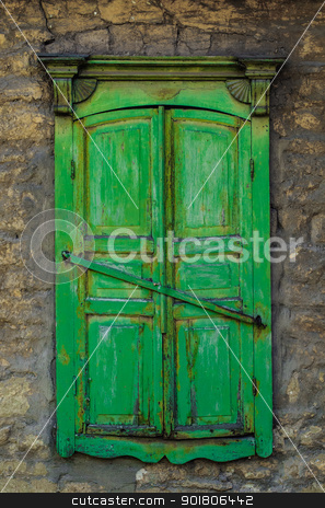 Old closed window stock photo, Old-fashioned style window in old wall by nvelichko