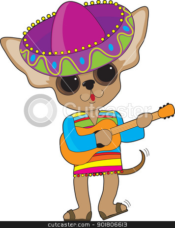 Chihuahua Guitar stock vector clipart, A happy Chihuahua with foot tapping and tail wagging, is playing the guitar while in show costume, complete with a large Mexican sombrero.  by Maria Bell