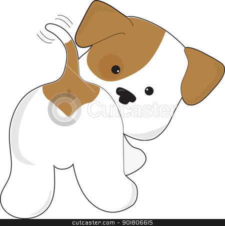Cute Puppy Rear View stock vector clipart, A cute brown and white puppy with a view from behind, as the puppy looks back towards the viewer. by Maria Bell