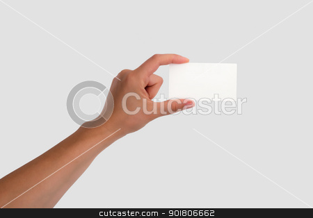 Female Hand Holding a Blank Business Card Isolated on light gre