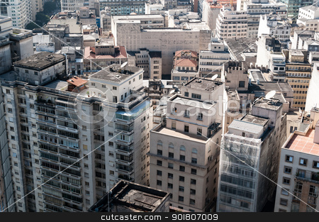 Aerial view of buildings in the city of sao paulo. stock photo, Aerial view of buildings in the neighborhood of the republic in the city of sao paulo. by Aurelio Scetta