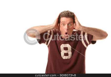 Excited Sports Fan stock photo, Excited white male sports fan holding his head by Scott Griessel
