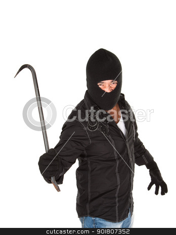 Masked Criminal stock photo, Menacing robber weilding a big crowbar on white background by Scott Griessel