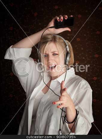 Dancing Girl stock photo, Young Girl dancing while listening to music by Scott Griessel