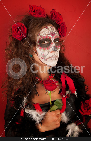 All Souls, All Roses stock photo, Sexy lady with red roses with detailed Day of the Dead makeup by Scott Griessel