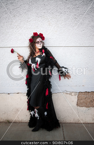 All Souls Day Diva stock photo, Middle aged woman with roses in her hair for All Souls Day by Scott Griessel