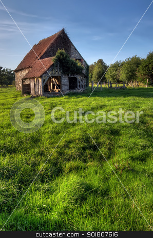 old house in summer  stock photo, Normandy traditional old house with fresh green grass meadow by Ioan Panaite