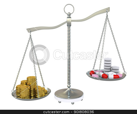 Money and pills in the gold balance scales stock photo, Money and pills in the gold balance scales. Isolated on white background by cherezoff