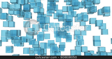 Abstraction of the blue ice cubes stock photo, Abstraction of the blue ice cubes. Isolated on white background by cherezoff