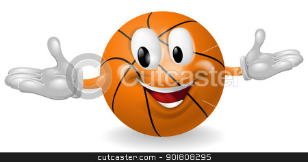 Basket Ball Man stock vector clipart, Illustration of a cute happy basketball ball mascot man by Christos Georghiou