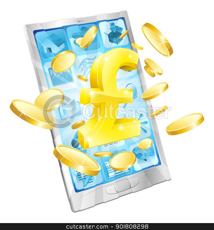 Pound money phone concept stock vector clipart, Pound money phone concept illustration of mobile cell phone with gold Pound sign and coins by Christos Georghiou
