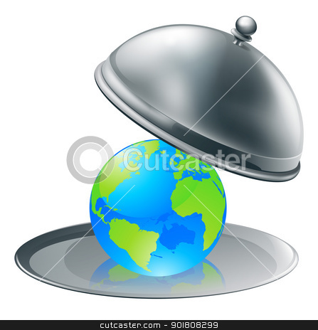 The world on a plate stock vector clipart, Illustration of the world globe on a silver platter. Concept for world on plate (opportunity or success), or environmental stewardship. by Christos Georghiou