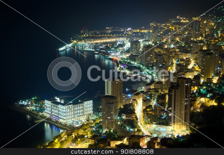 Monaco, Monte Carlo by night  stock photo, aerial view of Monaco, Monte Carlo by night  by Ioan Panaite