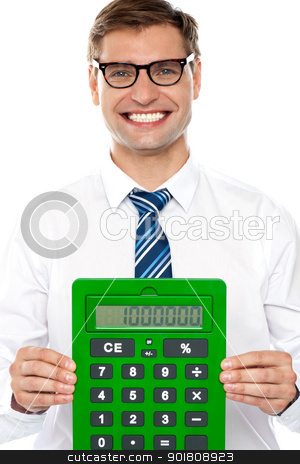Corporate man showing big green calculator stock photo, Smiling corporate man showing big green calculator against white background by Ishay Botbol