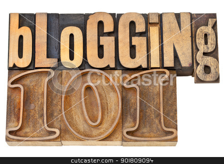 blogging 101 in wood type stock photo, blogging 101 - isolated text in vintage letterpress  wood type by Marek Uliasz