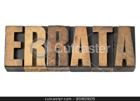 errata word in wood type stock photo, errata word - isolated text  in vintage letterpress wood type by Marek Uliasz