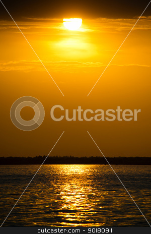 Beautiful sunset stock photo, Beautiful cloudscape landscape sunset from the beach by Imaster