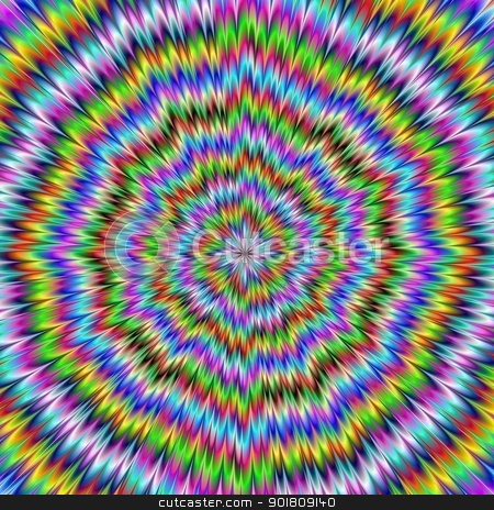 It Moves stock photo, Digital abstract image with an explosion of blue red yellow green and purple producing an optical illusion of movement. by Colin Forrest