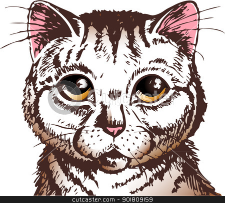 surprised cat face stock vector clipart, pussycat with big yellow eyes looking straight at you by SkyLynx