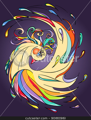 golden decorative bird stock vector clipart, bright illustration of a golden lucky bird by SkyLynx