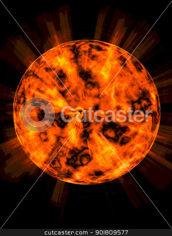 Explosion on the planet stock photo, the bright explosion on the unknown planet  by Alexander Matvienko