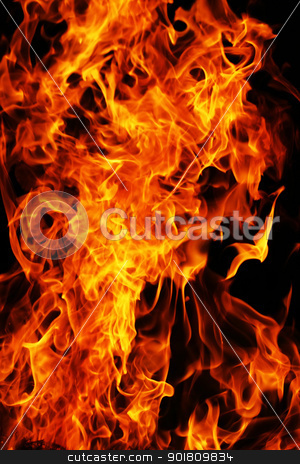 Fire stock photo, Flame burning on black background by Alexey Popov