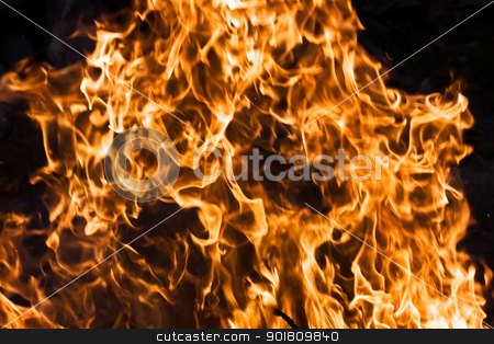 Fire stock photo, Orange flame burning on black background by Alexey Popov