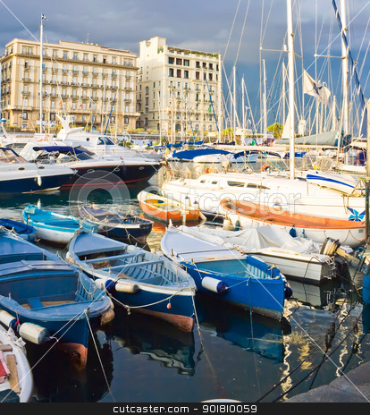Yachts in Naples stock photo, Small boats and yachts in the port of Naples, Italy by Alexey Popov