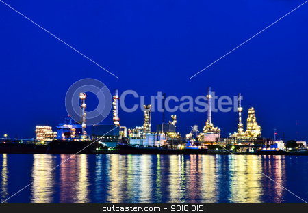 Factory At Twilight stock photo, Factory at twilight, Chao Phraya river, Thailand by chatchai