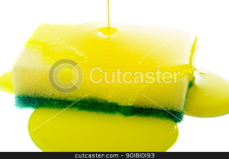 Sponge stock photo, Closeup view of liquid soap being poured on a dish sponge. by Richard Nelson