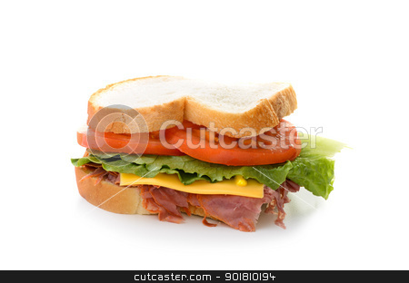 Corned Beef Sandwich stock photo, A corned beef sandwich with lettuce and tomatoes. by Richard Nelson