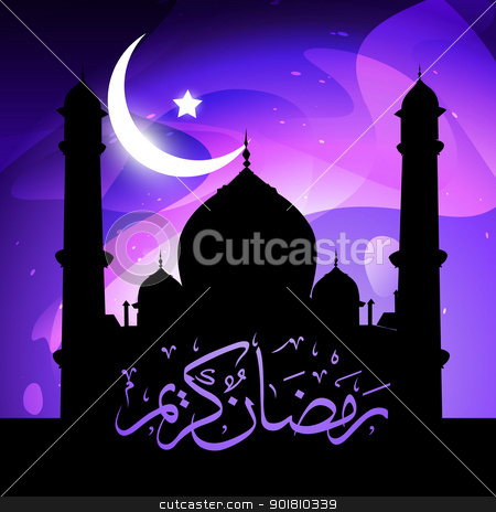 stylish ramadan kareem vector stock vector clipart, beautiful glowing mosque ramadan kareem vector by pinnacleanimates