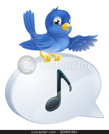 Bluebird musical note speech bubble stock vector clipart, Illustration of a cute bluebird standing musical note speech bubble and singing or tweeting by Christos Georghiou